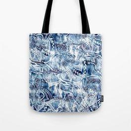 Modern navy blue tie die watercolor floral white boho hand drawn pattern Tote Bag