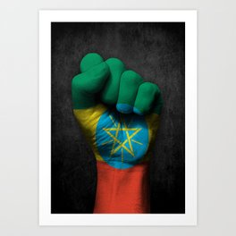 Ethiopian Flag on a Raised Clenched Fist Art Print