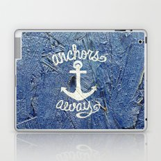 White Nautical Anchors Blue Vintage Wood Texture Laptop & iPad Skin
