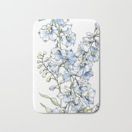 Blue Delphinium Flowers Bath Mat