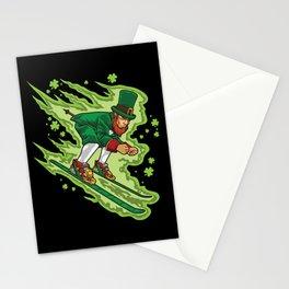 Skiing Leprechaun - Irish Mountain Winter Stationery Cards