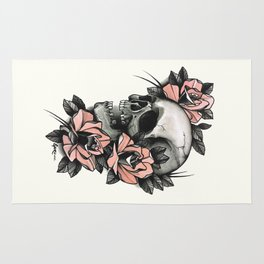 Skull and roses - tattoo Rug