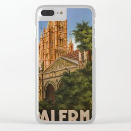 vintage Palermo Sicily Italian travel ad Clear iPhone Case