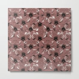 Hibiscus Flowers Collage Pattern Design Metal Print