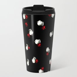 White and Red Roses on Black Background Travel Mug