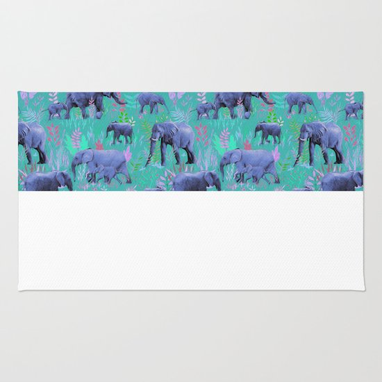 Sweet Elephants In Bright Teal, Pink And Purple Rug By