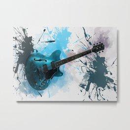 Electric Blue Guitar Metal Print