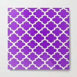 Arabesque Architecture Pattern In Purple Metal Print