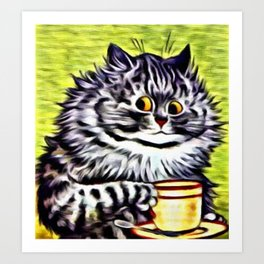 "Louis Wain's Cats ""Kitty On Coffee Break"" Art Print"