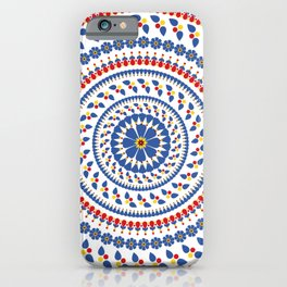 Floral Mandala Blue and Red colour Palette iPhone Case
