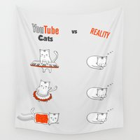 youtube Wall Tapestries featuring Youtube Cats vs Reality by The Blue Colibri