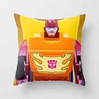transformer Throw Pillows featuring G1 Transformers Autobot Rodimus Prime by TJAguilar Photos