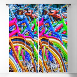 Colorful bicycles in a row Blackout Curtain