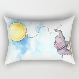 Baby elephant  with yellow balloon Rectangular Pillow