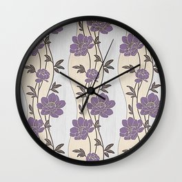 Purple Flower Garland Wall Clock