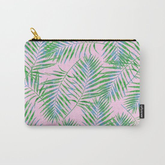 Fern Leaves Pink Carry-All Pouch