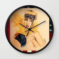 telephone Wall Clocks featuring Telephone by Sergiomonster