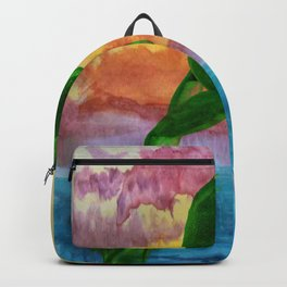 Frog jumping out of lake into sunset Backpack