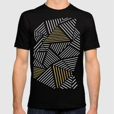 A Linear Black Gold Black MEDIUM Mens Fitted Tee