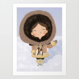 Cute eskimo Art Print