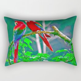 Couple Of Magnificent Noble Exotic Ara Parrots In Jungle Tree Close Up Ultra HD Rectangular Pillow