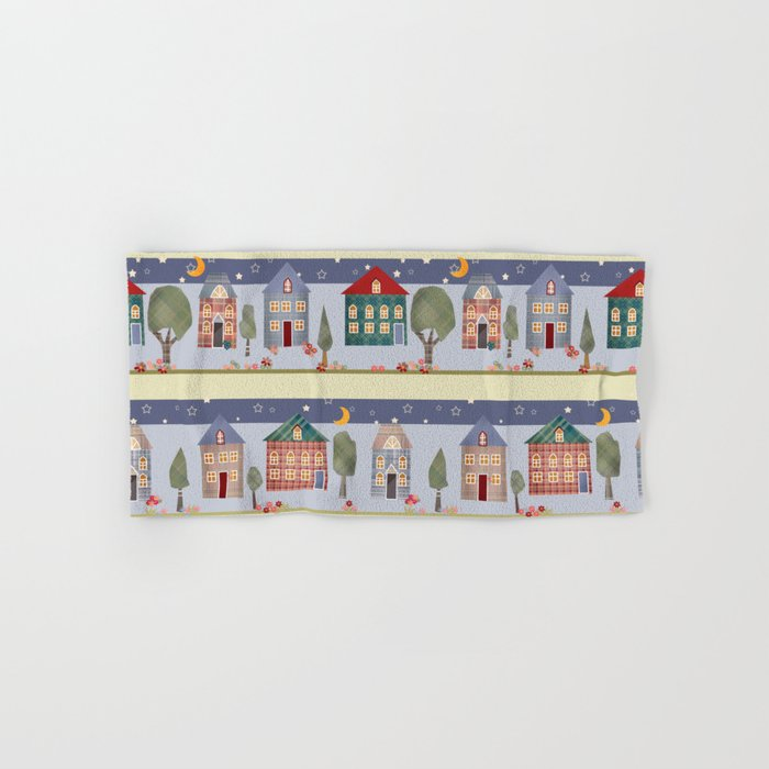 Kids patchwork seamless pattern with houses and trees Hand & Bath Towel