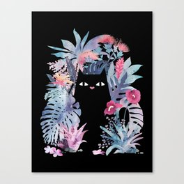 Popoki (Pastel Black Velvet) Canvas Print