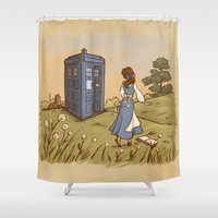 hallion Shower Curtains featuring Adventure in the Great Wide Somewhere by Karen Hallion Illustrations