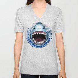 Shark Jaws Attack Unisex V-Neck