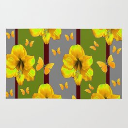 """AMARYLLIS """"FOR THE LOVE OF BUTTERFLIES"""" GREY-GREEN Rug"""