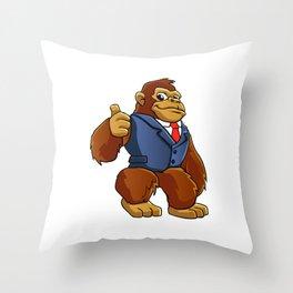 Gorilla in suit. Throw Pillow