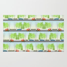 Cars and trees pattern Rug