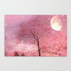 Surreal Fantasy Fairy Tale Pink Nature Trees Stars Full Moon Canvas Print