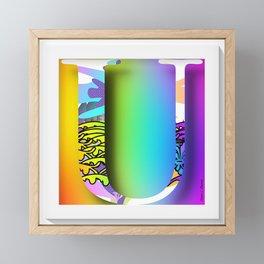 MONOGRAM INITIAL U FLORAL Framed Mini Art Print