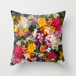 Cottage Flower Wall Throw Pillow