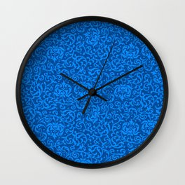 Blue Tudor Damask Wall Clock