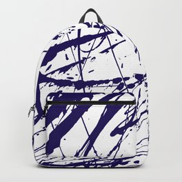 Modern abstract navy blue watercolor brushstrokes pattern Backpack