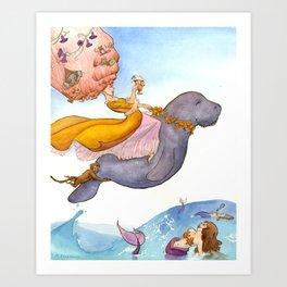Marie Antoinette On a Manatee Art Print