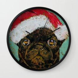 Santa Pug Wall Clock