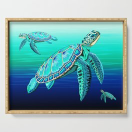 Sea Turtle Turquoise Oceanlife Serving Tray