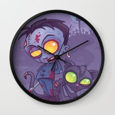 Pet Cemetery: Zombie Boy and his Zombie Cat Wall Clock