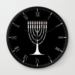Menorh With Nine Candles Wall Clock