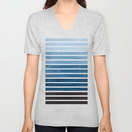 Watercolor Gouache Mid Century Modern Minimalist Colorful Green Blue Stripes Unisex V-Neck