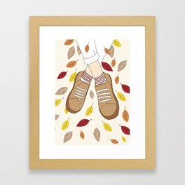 Autumn Leaves and Shoes Framed Art Print