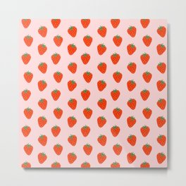 Strawberry pattern in pink background Metal Print