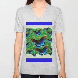 BLUE-BROWN BUTTERFLY GREEN ART Unisex V-Neck