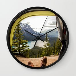 LAKE - MAN - FEET - TENT - PHOTOGRAPHY Wall Clock