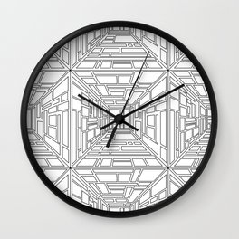 Abstract seamless op art pattern. Monochrome graphic black and white ornament. Striped optical illus Wall Clock