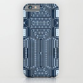 Blue Geek Motherboard Circuit Pattern iPhone Case