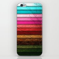 leather iPhone & iPod Skins featuring Chic Leather Glitter Stripes by Joke Vermeer